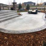 bordered concrete patio